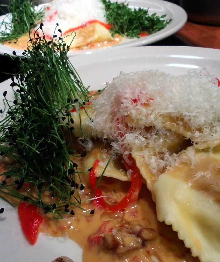 Ravs With Roasted Red Pepper And Black Walnut Beurre Blanc