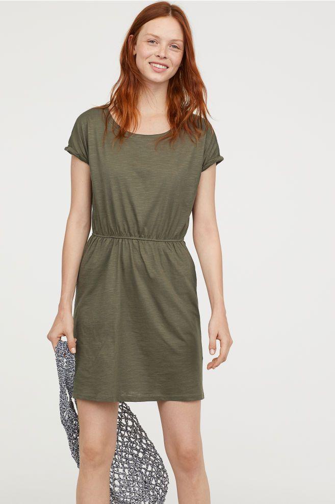 a7f4f3f29d9 Jersey Dress - Khaki green - Ladies