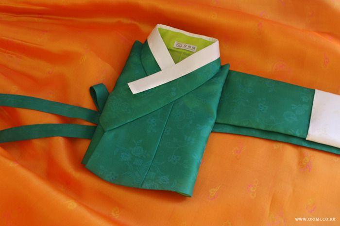 오리미한복 :: 올 봄 두번째 소개하는 신부한복, 초록 저고리에 환타색 치마 _ 오리미 신부한복
