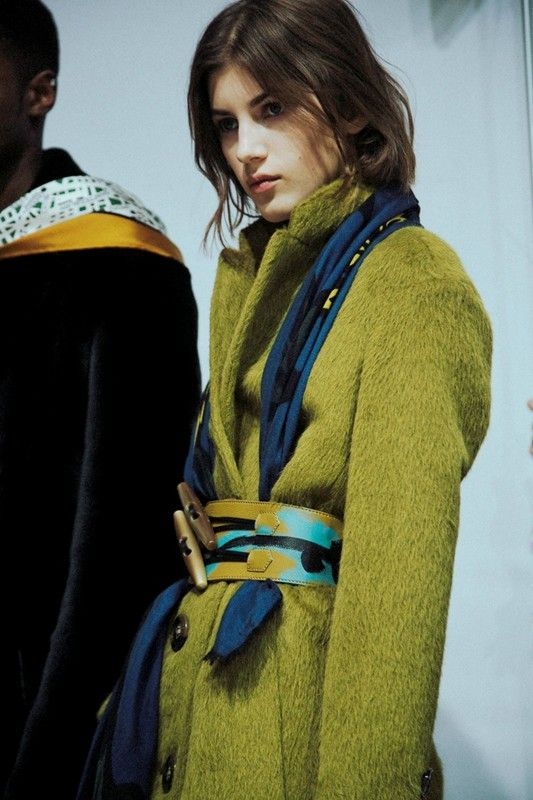 Lime green mohair coat backstage at Burberry Prorsum AW14 LFW. More images here: http://www.dazeddigital.com/fashion/article/18895/1/burberry-prorsum-aw14