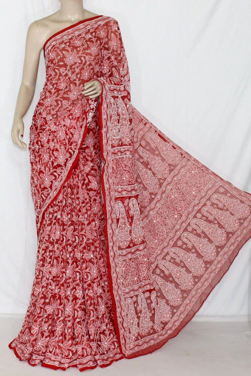 Red Allover Hand Embroidered Lucknowi Chikankari Saree (With Blouse - Georgette) 14354
