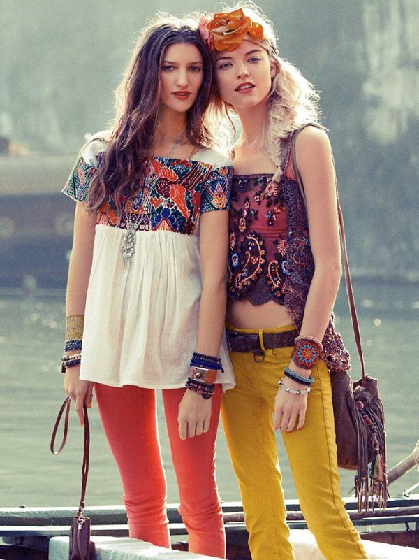 love boho style: Boho Chic, Clothing, Shirts, Outfit, Leather Cuffs, Free People, Color Jeans, Freepeopl, Boho Fashion