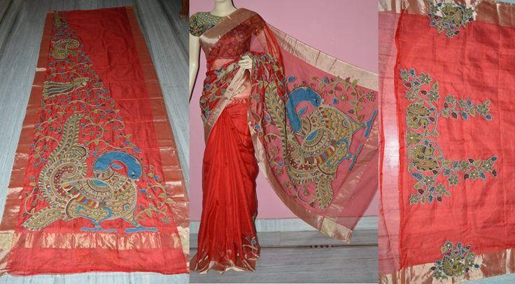 Pen Kalamkari patch work saree Material: silk kota Code: JKD4111 More details mail to jayanthkalamkari@gmail.com