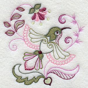 $3 on embroidery library I would like to turn this into a hand embroidered pattern. Vintage Jacobean Hummingbird 1