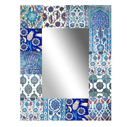 Mirror Patchwork Iznik Blue | 700x570mm by Anna Chandler on THEHOME.COM.AU