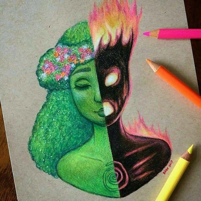 Sie kombiniert zwei Charaktere in einer kostbaren Bleistiftzeichnung – Marie Christine Virapin
