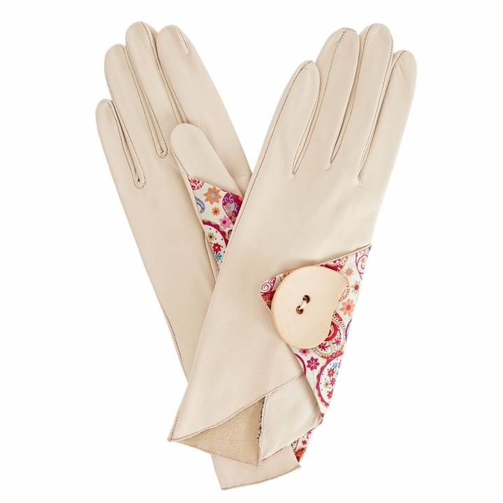 Gizelle Renee - Padma Beige Leather Gloves With MD Liberty Tana Lawn