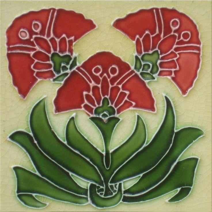 Art Nouveau Reproduction Decorative Ceramic Tile 6 X 6 inches 49