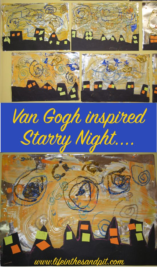 Van Gogh inspired Starry Night Art for Children. Step by step instructions and slide show featuring Don McLean song. Beautiful!