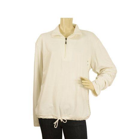 Burberry London White Long Sleeve Polo Neck Cotton Blouse Top - SZ M