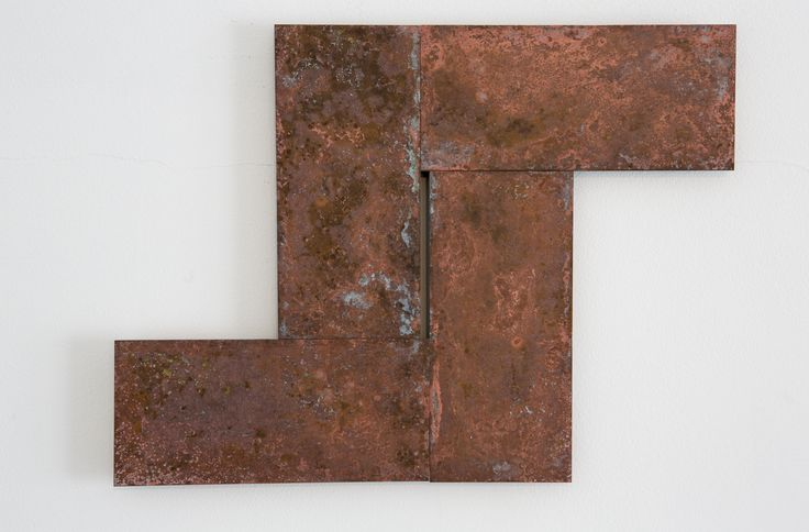 Stephen Bambury, Seven Days (IV), 2014, chemical action on four brass plates, 249 x 338 mm