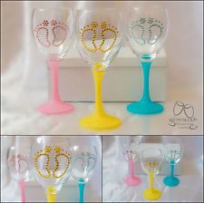 Baby shower wine glass with glitter & rhinestones crystal in box, christening