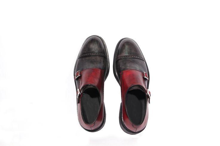 scarpe uomo in vera pelle artigianali  hand painted articolo 903 grigio e rosso black brushed vista superiore
