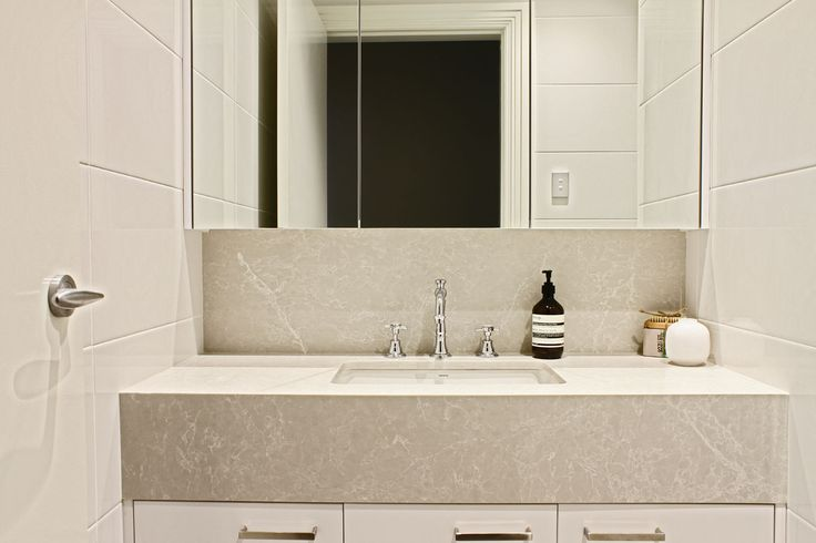 Kerry Selby Brown Design featuring Caesarstone Alpine Mist sink bench top.