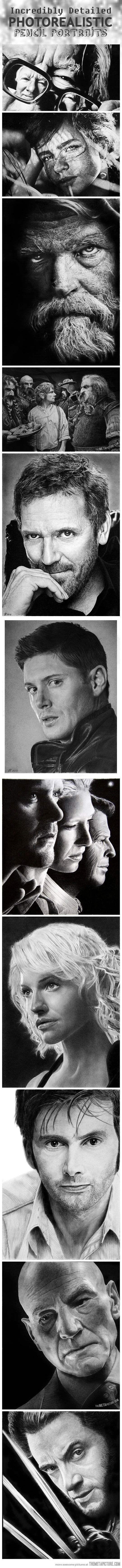 Cool photorealistic pencil portraits