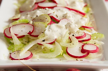 Celery, Fennel & Radish Salad with Homemade Blue Cheese Dressing