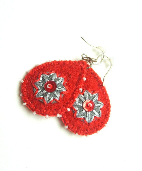 Blood tears  red felt earrings with bead embroidery by grabacoffee, $10.00