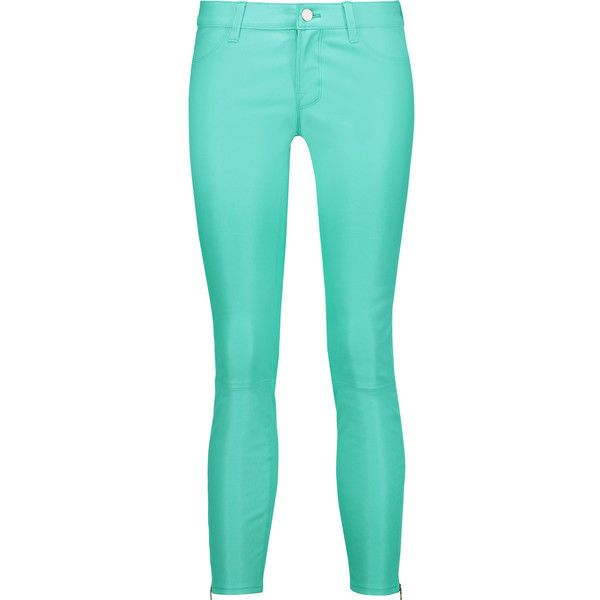 J Brand - Cropped Stretch-leather Skinny Pants ($299) ❤ liked on Polyvore featuring pants, capris, turquoise, real leather belts, faux-leather pants, cropped pants, genuine leather belt and j brand skinny jeans