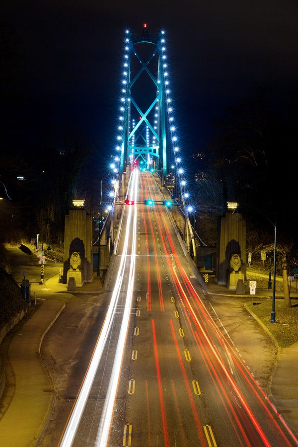 Light Trails on Lions Gate Bridge at Night, Vancouver BC Canada
