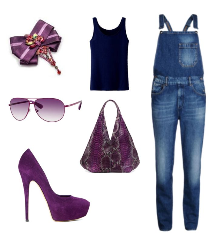 Today we went crazy with purple, hope you like it.    (Seafarer overall, Uniqlo top, Casadei shoes, Marc Jacobs sunglasses, brooch by House of April)
