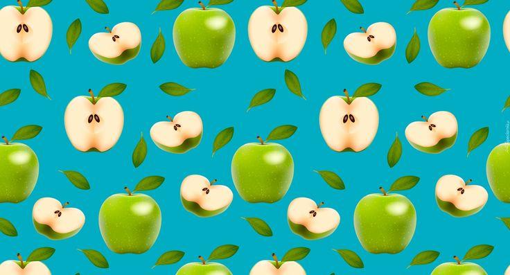 Tekstura, Zielone, Jabłka, Połówki