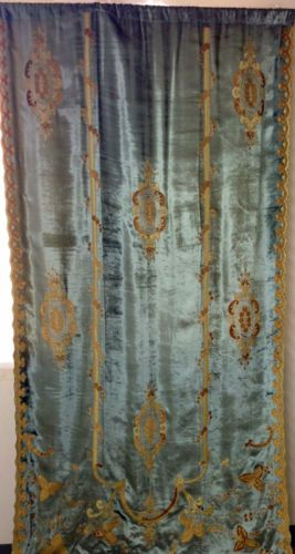 Embroidered-Versaille-ready-made-drapes-Velvet-lined-Blue-Lined-Curtains