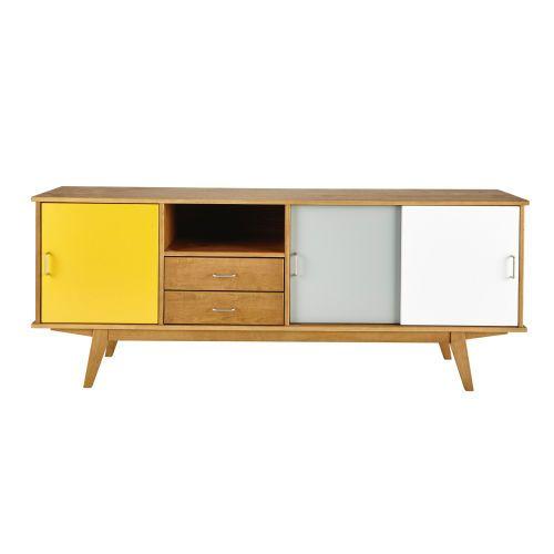 Buffet vintage en bois jaune/gris/blanc L ... - Paulette