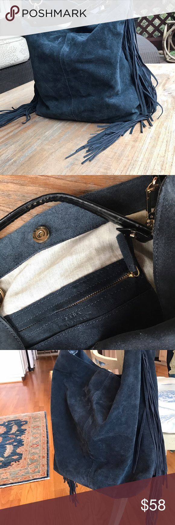 Zara purse Beautiful Zara genuine suede shoulder bag. Resembles Prada shoulder bag! Like new!  Only carried 3 times! zara Bags Shoulder Bags