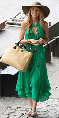 emerald green ruffled sundress - Blake Lively