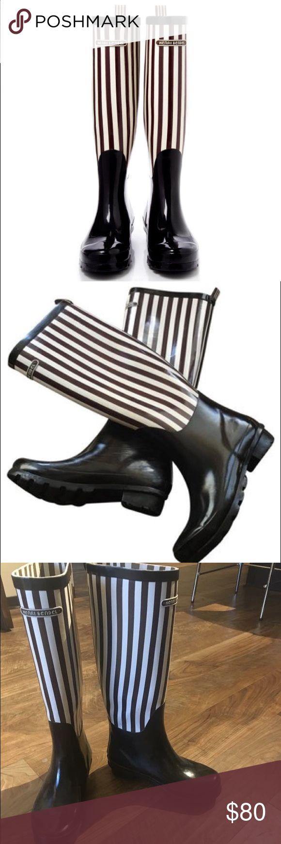 Iconic Henri Bendel Boots! NWOT! Never worn- black and white stripe Henri Bendel rain boots henri bendel Shoes Winter & Rain Boots