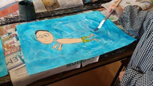 "Grade 3 children have been discussing artist David Hockney. Their paintings are based on his ""Pool"" collection."