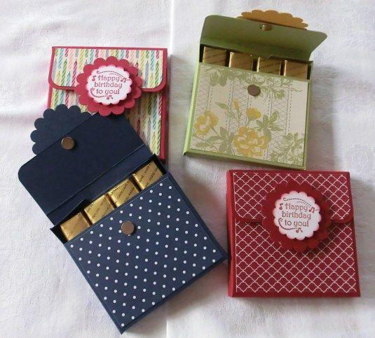 Mit 4 Merci gefüllte Schachteln als Dankeschön oder zum Geburtstag