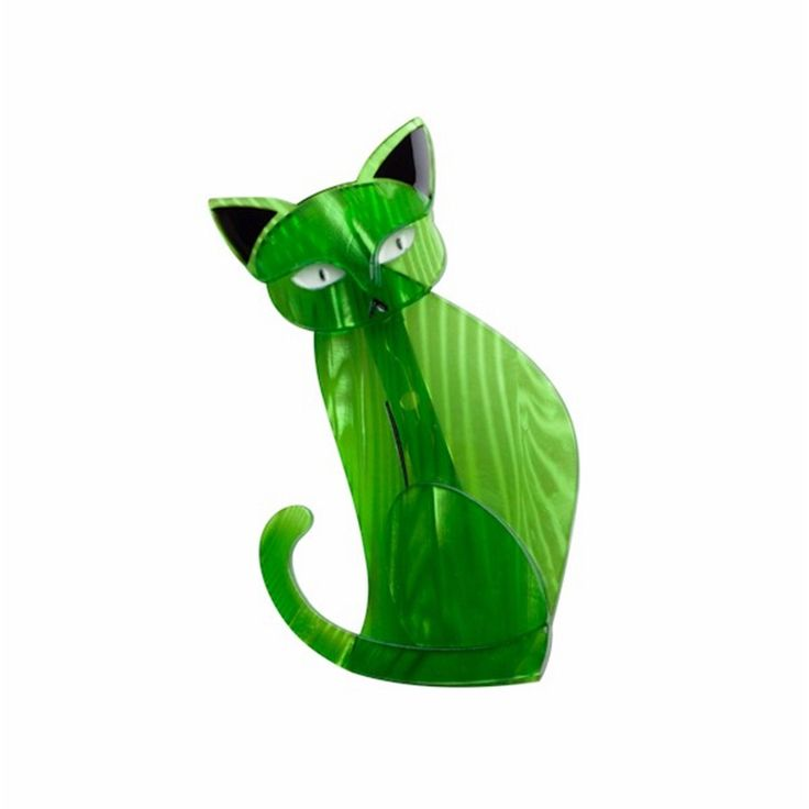 """Thomas Taffy Cat"" High Gloss Resin Cat Brooch- Green & Black Supplied Boxed 
