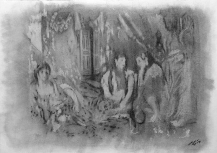 ARTFINDER: The Women of Algiers by Adam Grose - A study of Eugene Delacroix's painting of The Women of Algiers in charcoal and white oil pastel.  This image is drawn observing his use of light and shadow, ...