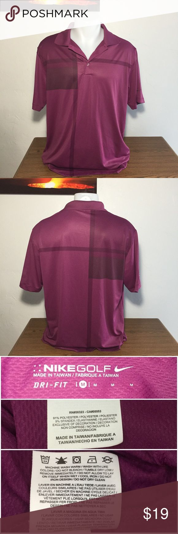 Men's - Nike Golf Dri-Fit Purple Polo Shirt This shirt is in good condition. Different shades of purple with stripes and color blocks. Embroidered Nike Swoosh on the left sleeve and Boundary Oak on the right sleeve. There is discoloration on the left side of the shirt (as seen in pics). The material is thin, smooth, and lightly textured.  Approximate measurements: Total length -  Armpit to armpit -  Sleeve length -   🚫Sorry, no trades or modeling🚫  M1110 Nike Shirts Polos