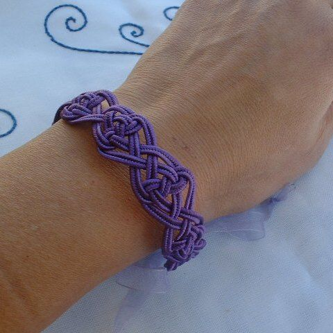 Double Coin Knot Bracelet Purple - Made from flat chinese knot cord, this is one of my first chinese knot bracelets