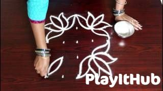 lotus kolam with dots 5x5- lotus muggulu with dots- rangoli lotus designs