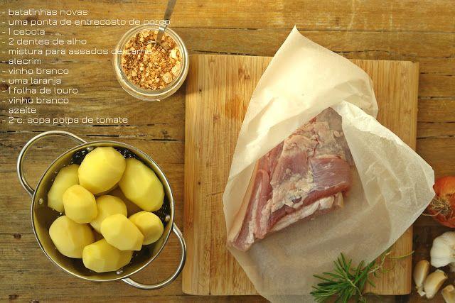 Hoje para jantar ...: Entrecosto no forno com laranja e batatinhas novas...