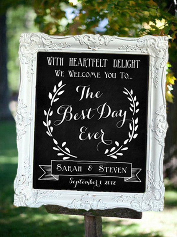 Wedding chalkboard sign the best day ever welcome to for Best day for a wedding