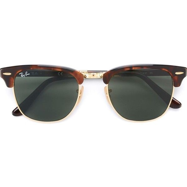 Ray-Ban Clubmaster Sunglasses (£185) ❤ liked on Polyvore featuring accessories, eyewear, sunglasses, glasses, brown, sonnenbrillen, tortoise shell glasses, brown sunglasses, unisex sunglasses and tortoise shell sunglasses