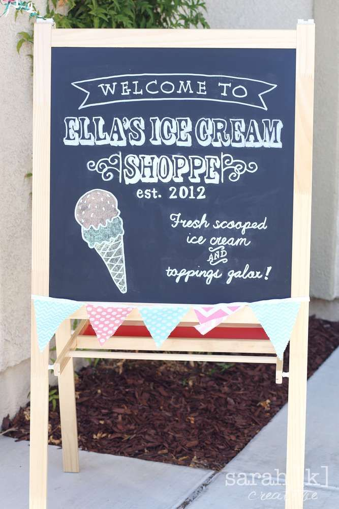 Ice Cream birthday party sign! See more party planning ideas at CatchMyParty.com!