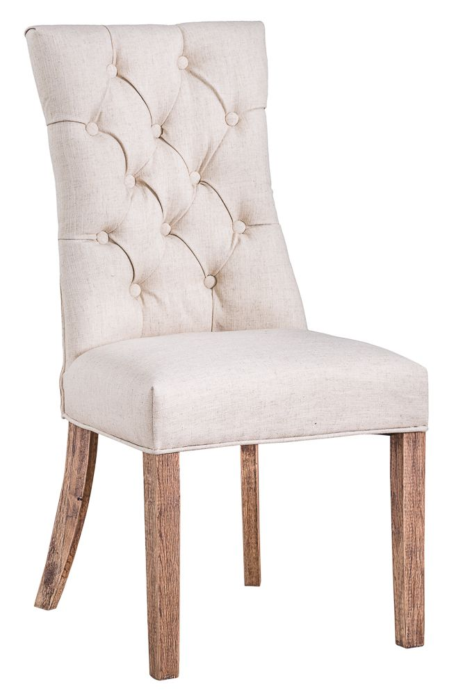 STONE GREY LINEN UPHOLSTERED DINING CHAIRS FRENCH STYLE BUTTON BACK LIMED LEGS