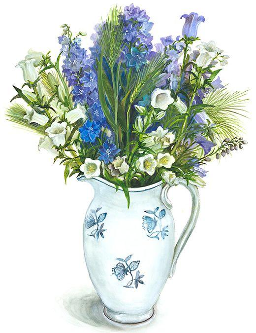 【青い花】 水彩