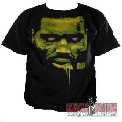 Black t-shirt from The Walking Dead tv show, with Red Eyed Zombie on the front and the Walking Dead logo in the bottom right corner.