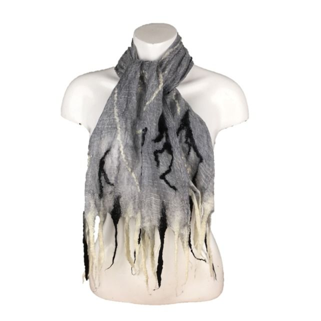 Black and white, monochrome, lightweight nuno felted scarf £32.00