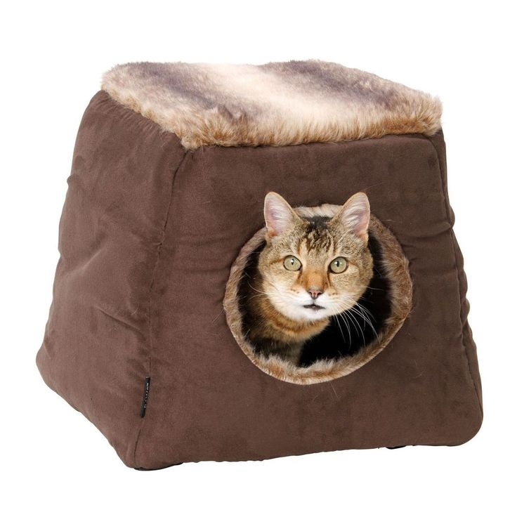 Faux Fur Cats Bed Suede Brown Fabric Polyester Dogs Kittens Puppies Pets Cave