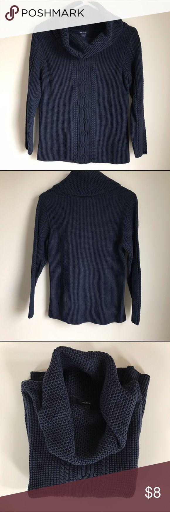 🎈Sweater Sale Nautica Mix Knit Cowlneck Cozy navy blue Mix Knit Cowlneck. Excellent condition. Size Large. Nautica Sweaters Cowl & Turtlenecks