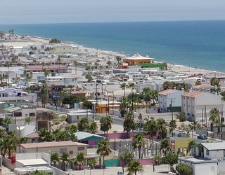 Puerto Penasco, Mexico - a secret gem in mexico. Also known as Rocky Point. Great place, almost everyone speaks English.