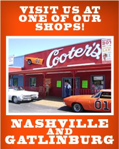 Cooter's Place - The Dukes of Hazzard Cooter's Place Gatlinburg  542 Parkway   Gatlinburg, TN 37738  (865) 430-9909  Mon- Sat: 9 AM- 9PM, or later  Sun: 9AM- 7PM  Free Admission
