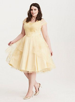 Plus Size Disney Beauty and the Beast Belle Ball Gown, YELLOW